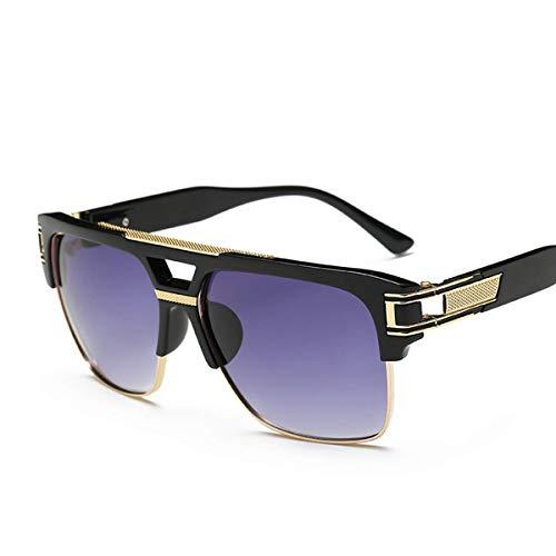 Frame Gradient Lens (Semi Rimless Sunglasses for Men Gold Square Frame with Gradient Lens Classic Aviator Goggle Retro Brand Designer)