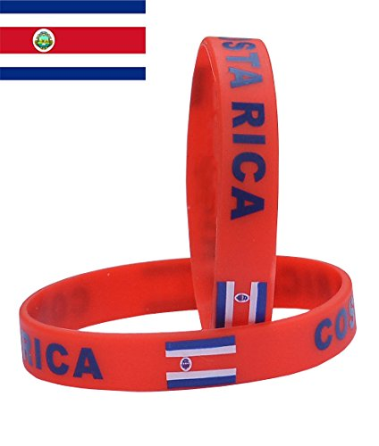 VEWCK Flag Silicone Bracelet Classic Bangle Letter Pattern 40 Countries 2-Pack (Costa Rica)