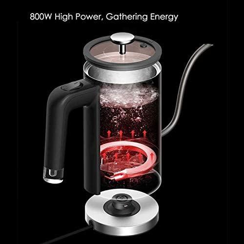 JIAXIAO Ship Bouilloire électrique à col de Cygne, Bouilloire électrique pour café et thé, Chauffage Rapide de 800 Watts, Couvercle intérieur 100% en Acier Inoxydable