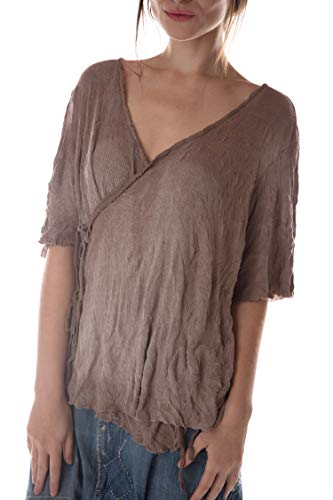 Magnolia Pearl Ribbed Cotton Jersey Origami Wrap Blouse with Dist