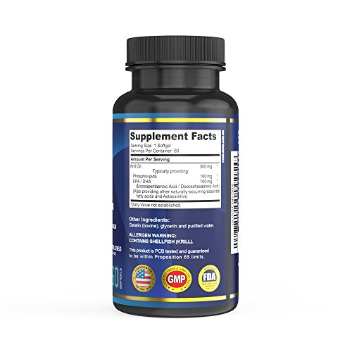 Premium Krill Oil Supplement with EPA/DHA by Fettle Excellence, Astaxanthin, Memory & Mood Enhancer, Boosts Energy, Fights Inflammation, Supports Healthy Joints and Cardiovascular Health, 60 softgels by Fettle Excellence (Image #1)