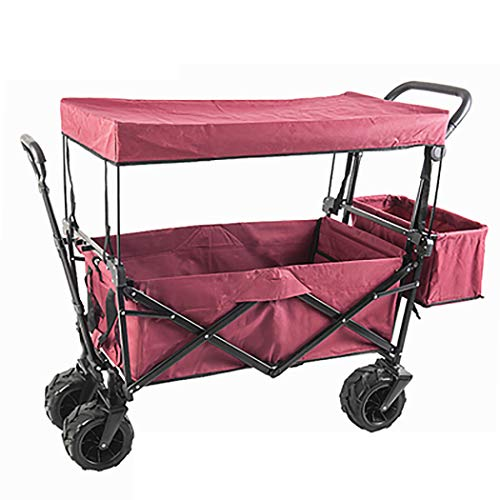 GAIBO Garden Cart Folding with Wheels and Carrying Case, Beach Cart Lightweight, for Garden Transportation(Load Bearing 80kg/176 lbs),Wine red