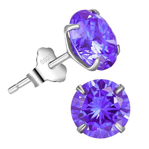 Bella.Vida Womens Sterling Silver June Birthstone Alexandrite Voilet Swarovski Elements Cz Diamond Stud Earrings 2.5cttw