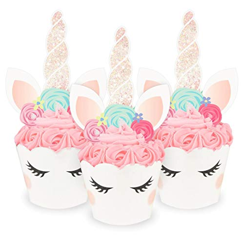 xo, Fetti Unicorn Glitter Cupcake Toppers + Wrappers - Set of 24 | Birthday Party Supplies, Unicorn Horn Cake Decoration + Baby Shower