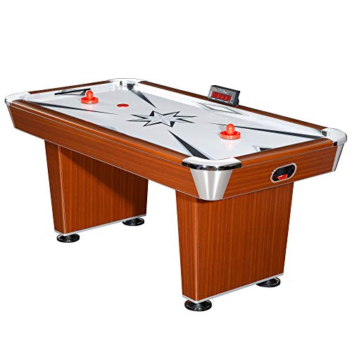 - Aromzen Midtown Air Hockey Table, 6-ft, Cherry Wood Finish