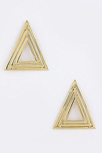 Trifari Triangle Earrings (TRENDY FASHION JEWELRY MULTI TRIANGLE STACKED EARRINGS BY FASHION DESTINATION | (Gold))