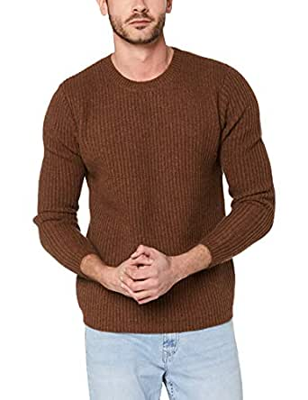 French Connection Men's Wool Blend Crew Knit, Toffee Melange, Small