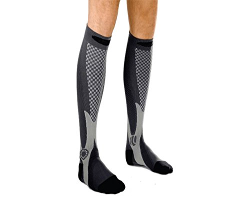 Black Knee High Compression Socks for Men and Women - 2 pairs By One & Only USA