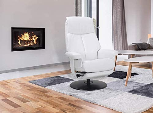 Repose Pieds int/égr/é Excellente qualit/é Design Salon Peu encombrant tr/ès Confortable Mikonos Fauteuil de Relaxation en Cuir Blanc