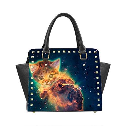 JIUDUIDODO Custom Funny Cat & Galaxy Space PU leather Casual Rivet Shoulder Handbag Top Handle Handbags Messenger Bags (Twin Sides)