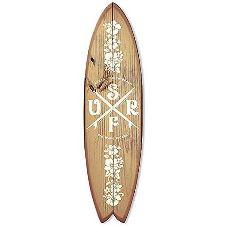 Vertikale decoración pared tabla de surf Fish Déco madera claro & blanco 150 x ...