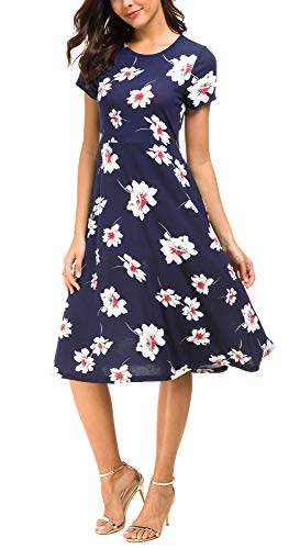 (Urban CoCo Women's Floral Print Short Sleeve Flared Midi Dress (S,)