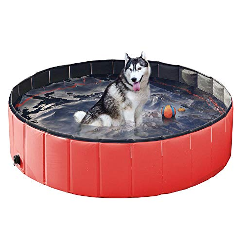 Yaheetech Red Foldable Collapsible Dog Pet Kiddie Bath Pool Bathing Tub for Dogs Cats and Kid - M: 48 x 12'']()