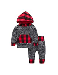 Infant Baby Boys Fall Outfits Clothes 0-24 Months,Toddler Plaid Hoodie Pocket Sweatshirt Pullover Tops Pants Sets