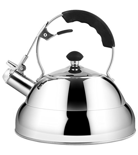 Rorence Stainless Steel Whistling Tea Kettle for Stovetop with Heat Resistant Handle, 2.7 Quart