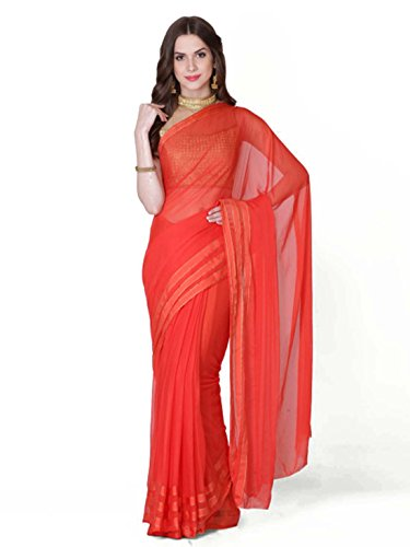 Indian Handicrfats Jaipur Orange Export Chiffon Geroo Saree 7Rxr7qw
