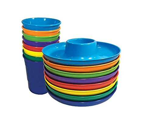 Great Plate Food Beverage Plate & Cup Multi-Color, Teal, Lime, Orange, Purple, Red, Green, Blue, Yellow, 8 Count