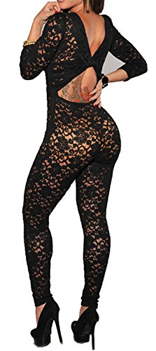 Made2envy Lace Overlay Nude Illusion Keyhole Back Ju (XL, Black) C6283BLK-XL