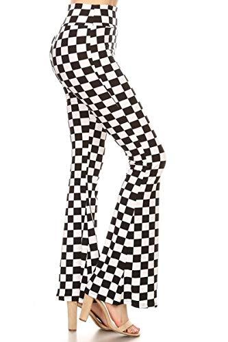 Leggings Depot PZA-S534-M B&W Checkered Palazzo Print Pants, Medium -