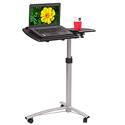 Leadzm Adjustable Height Angle Rolling Laptop desk, Mobile Computer Desk, Dual Surface, Over Sofa Bed Table, Standing for Reading & Writing, Home & Office Desk?Black