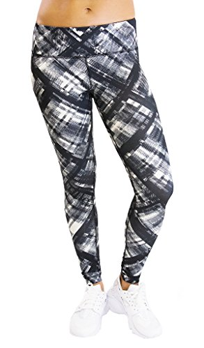 90 Degree By Reflex Performance Activewear – Printed Yoga Leggings Print 253 Moz Twill Ivory Black M