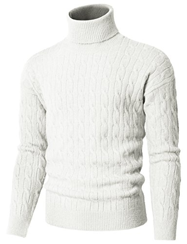 H2H Men's Cable Turtleneck Sweater Ivory US M/Asia M (KMOSWL0235)