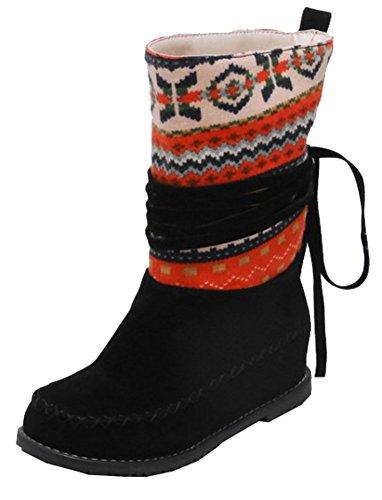 SHOWHOW Suede Retro Mid Booties Hidden Women's Print Heels Knee Faux Black Tassel Pull On High ZZrXwq