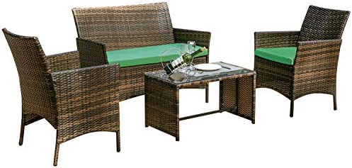 Amazon Com Leisure Zone 4 Pc Rattan Patio Furniture Set Wicker