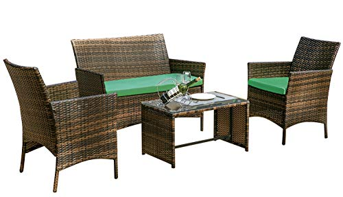 Leisure Zone 4 PC Rattan Patio Furniture Set Wicker Conversation Set Garden Lawn Outdoor Sofa Set Cushioned Seat Tempered Glass Table Top (Cushion Green)