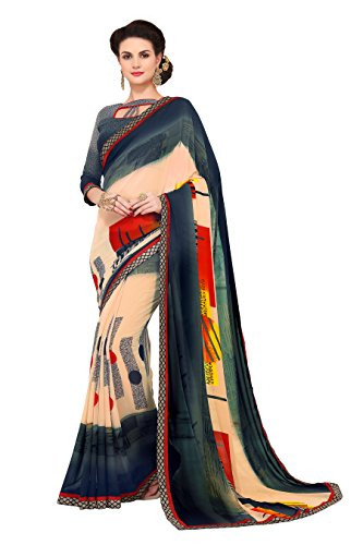 Shonaya Women`S Party Wear Georgette Lace Border Saree Sari (Multi Colour)