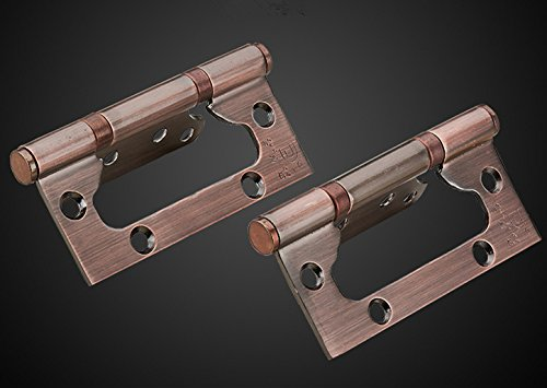 RZDEAL A Pair SU304G 5.25 inch Non-Mortise Bi-Fold Door Mute Balls Hinge Stainless Steel; Red Ancient Bronze by RZDEAL (Image #2)