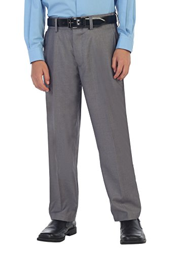 Gioberti Boys Flat Front Dress Pants, Gray, 12 ()