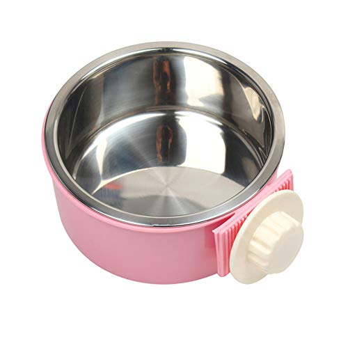 - Dog Bowl Feeder Pet Puppy Food Water Bowl, 2-in-1 Plastic Bowl & Stainless Steel Bowl, Removable Hanging Cat Rabbit Bird Food Basin Dish Perfect for Crates & Cages, Pink
