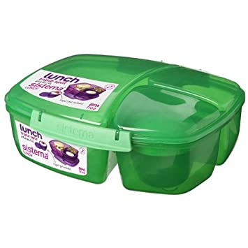 Blue 2 L Sistema Lunch Triple Split Lunch Box with Yoghurt Pot