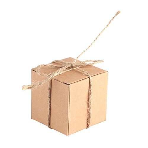 Caja de Papel Kraft de 50 Piezas Marrón, Rectángulo Caja de Regalo de Regalo de Boda con Cuerda de Cáñamo para Bodas...
