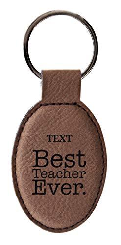 Teacher Gifts Best Teacher Ever Custom Text Customized Leather Oval Keychain Custom Key Tag - Leather Oval Keychain