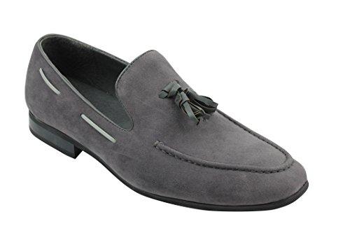 grigio Zapatos de borla Formal Grigio Casual Xposed Slip conducción On piel de hombre Smart ante sintético ZnHTW