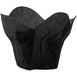 Lotus Cupcake Liners Parchment Baking Cups for Muffins (100 count) (Black)