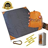 Outdoor Beach Blanket/Compact Pocket Blanket 55?x70? - Waterproof Ground Cover, Sand Proof Picnic Mat for Travel, Hiking, Camping, Festival, Sports - Durable With 4 Portable Hiking Sticks (Orange)