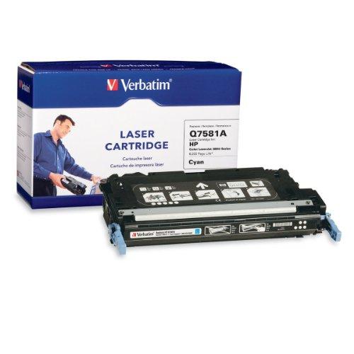 Verbatim Remanufactured Toner Cartridge Replacement for HP Q7581A (Q7581a Cyan Print Cartridge)