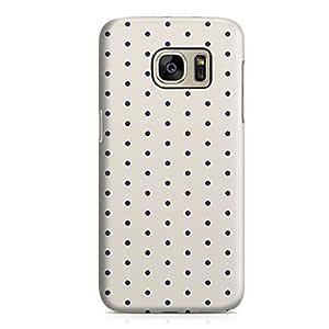 Samsung Galaxy S7 Case Blue White Small Polka Dots Hard Plastic Tough Samsung Galaxy S7 Cover Wrap Around
