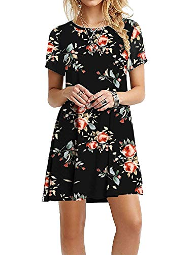 Women's Linen Floral Wrap Girl Cotton Short Stretchy Sundress Tee Summer Resort Sleeve Tunic Dress Cover David Black,M
