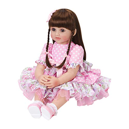 PURSUEBABY Dolls Reborn Toddlers Princess Girl Melinda 24 Inch Soft Silicone Vinyl Baby Doll Snuggle Toy for Girls Real Life Baby Doll with Long Hair and Gift Box(Muticolor) (Girl Vinyl)