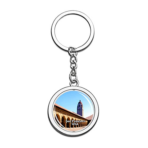 USA United States Keychain Stanford University San Francisco Key Chain 3D Crystal Spinning Round Stainless Steel Keychains Travel City Souvenirs Key Chain Ring ()