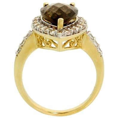 10k Gold Genuine Smoky Topaz Teardrop Ring Pear Cut 14x9mm White Sapphire Accent 3 4 inch