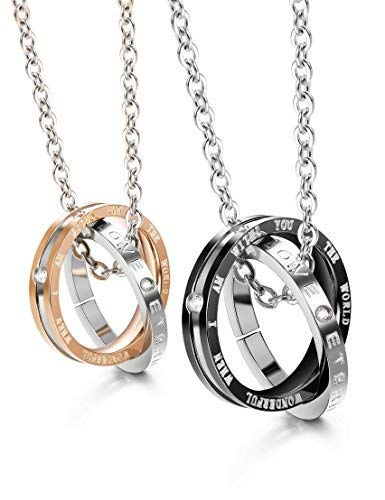 Finrezio Matching Set Couples Necklace for Him&Her Korean Ring Pendant Necklace Jewelry Made of Stainless ()