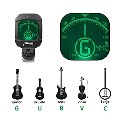 Mugig Tuner Clip-on Tuner for Guitar, Ukulele, Bass, Violin, Chromatic Tuning,Large Clear Colorful LCD Display (38% Greater View),Calibrated Pitch,Battery Included, Auto Power Off