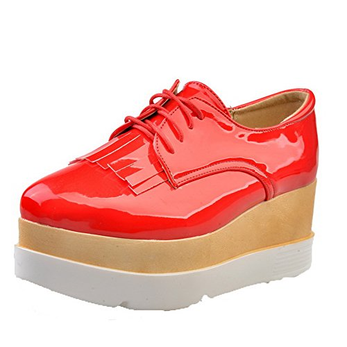 VogueZone009 Women's Round Closed Toe Lace-up PU Solid High-Heels Pumps-Shoes Red JFxGW