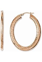 Stainless Steel Rose IP-plated Textured Hollow Oval Hoop Earrings