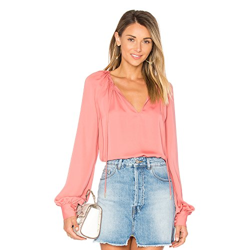 L'Academie Womens The Cuffed Boho Blouse English Rose Large